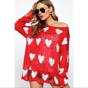 BiBi Vici Red White Distressed Heart Sweater
